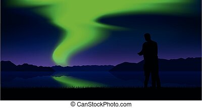 風景, 美麗, 夫婦, 極地, 綠色, 湖, 自然, 光