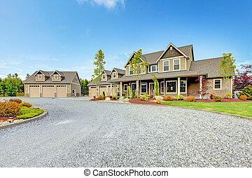 風景。, 農場房子, 大, 綠色, 車道, 國家, 碎石