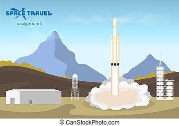 風景, travel's, 空間, start., 宇宙飛船, 發射, rocket., 工業, tachnology, 卡通, 背景, style., concept.