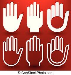 風格, 不同, 在上方, 六, 背景。, 手, 紅色, 圖象