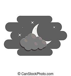 風格, 云霧, 月亮, 黑色, 圖象, 單色