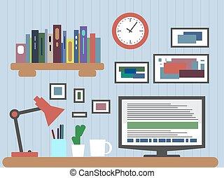 風格, 元素, 圖象, 內部, 現代, 設計師, 接口, 辦公室, 應用, 顯示, 矢量, 最簡單派藝術家, 設計, 套間, color., 桌面