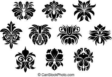 風格, 元素, 緞子, 葡萄酒, 設計, 植物, 黑色