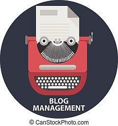 風格, 手冊, blog, 打字机, 紙, list., 現代, 插圖, 時髦, 管理, 矢量, 設計, 套間, 葡萄酒, 概念