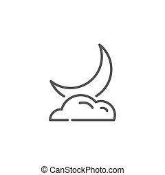 風格, 線性, 月亮, 背景。, 懷特雲, 圖象
