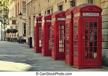 風格, 老, 傳統, 電話 箱子, 英國, 紅色, london.