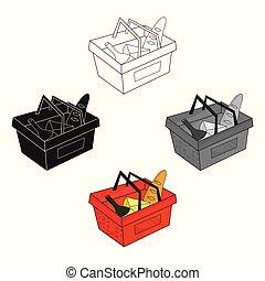 風格, 股票, 符號, 卡通, 購物, 黑色, 被隔离, 充分, 圖象, 矢量, 白色, 雜貨, 背景。, illustration., 籃子, 超級市場