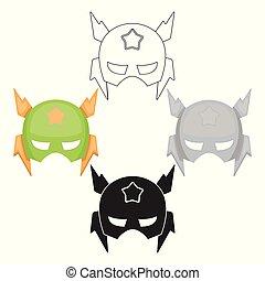 風格, 股票, 面罩, 符號, 卡通, 頭, 黑色, 被隔离, 充分, 圖象, 矢量, s, 背景。, superhero, illustration., 白色