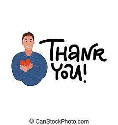 風格, 胸膛, 友好, 卡通, 語言, 年輕, heart., 矢量, 概念, gratitude., 藏品, 人, 身體, 保持, 表達, 手, 感情, illustration., 微笑, 套間