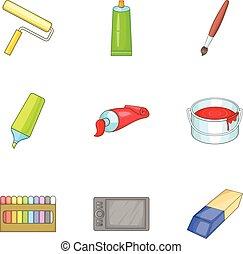 風格, 藝術, 圖象, 集合, 提供, 卡通