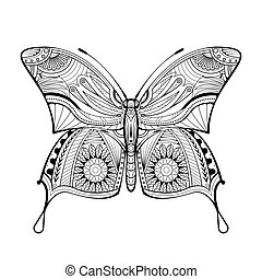 風格, 蝴蝶, 矢量, 著色書