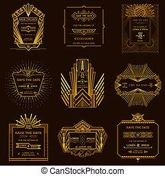 風格, 集合, 藝術, 葡萄酒, 婚禮, -, deco, 日期, 矢量, 邀請, 卡片, 之外