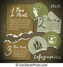 風格, 集合, scrapbooking, 葡萄酒, 撕破, 片斷, 紙, infographics