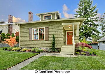 風格, 革新, house., 綠色, 工匠, 小