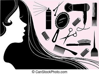 風格, 頭髮, 美容院, 矢量, element.