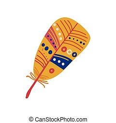 風格, 鮮艷, 神秘主義者, 符號, 插圖, boho, 矢量, 設計, 种族, 羽毛, 元素