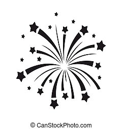 風格, illustration., 符號, 煙火, 被隔离, 愛國者, 背景。, 矢量, 黑色, 愛國, 白色, 圖象, 天, 股票