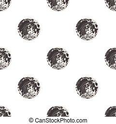 風格, illustration., 符號, 被隔离, 月亮, 背景。, 矢量, 行星, 白色, 圖象, 卡通, 股票