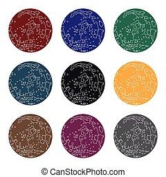 風格, illustration., 符號, 被隔离, 月亮, 背景。, 矢量, 黑色, 行星, 白色, 圖象, 股票