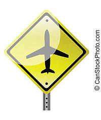 飛機, 三角形, 路標