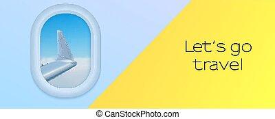 飛機。, s, banner., 機翼, 藍色, eps10, 舷窗, 去, 看法, 旅行, plane., 天空, 插圖, 讓, 矢量, 做廣告