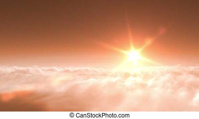 飛行, 在上方, 傍晚, 云霧