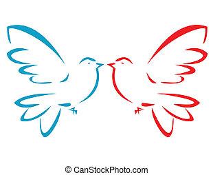 飛行, 矢量, 鴿, 插圖
