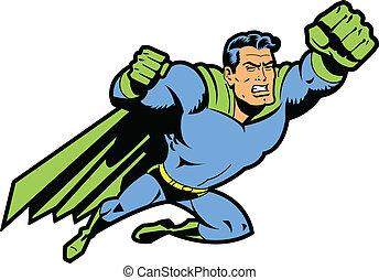 飛行, superhero, 握緊拳頭