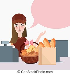 食品雜貨店, 食物, 計數器, 出納員, 超級市場, 女孩, 零售店, bread