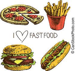 食物, 快, set., 說明, 手, 畫