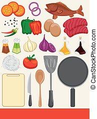 食物, 烹調, 元素, 插圖