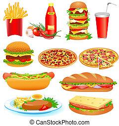 食物, pitsey, 快, 集合, 蕃茄沙司