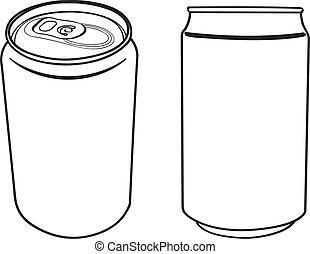 飲料, 矢量, 罐頭, outline
