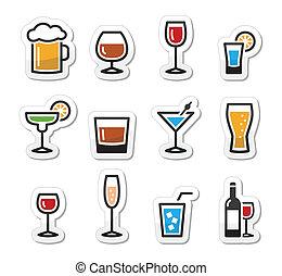 飲料, 集合, 酒精, 飲料, 圖象