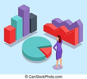 餅, concept., 顏色, 分析, 圖表, 圖形, 垂直, 婦女, 酒吧, 包括, 配合, 站立