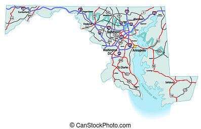馬里蘭, 州際, 地圖, 狀態