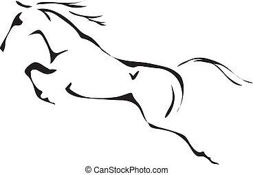 馬 跳躍, 矢量, 黑色, 白色, 要點