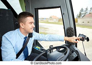 駕駛員, 公共汽車, gps, 地址, 領航員, 進入