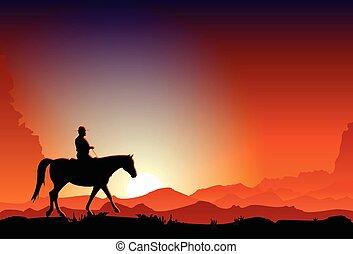 騎馬, 黃昏, 牛仔, 馬