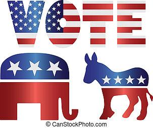 驢, 民主主義者, 插圖, 大象, 投票, 共和