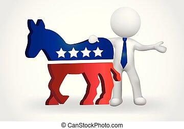 驢, 美國, 人們, 民主党人, 小, 3d