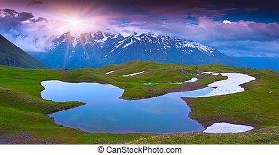 高加索, 湖, 阿爾卑斯山, 山。