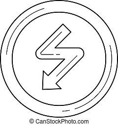 高, 線, 矢量, 電壓, icon.