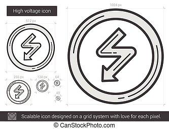 高, 線, 電壓, icon.