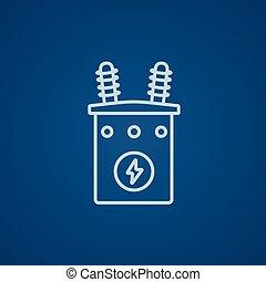 高, 變壓器, 線, icon., 電壓