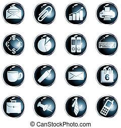 高, 辦公室, 注釋, 按鈕, 黑色, 輪