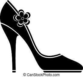 高, 鞋子, 跟部, (silhouette)