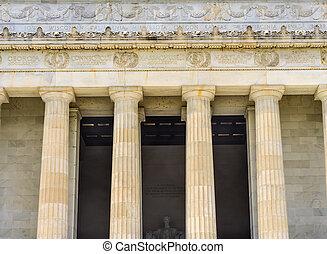 高, dc, 專欄, 林肯紀念館, 亞伯拉罕, 雕像, 華盛頓