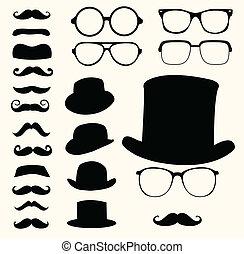 髭, 帽子, 眼鏡