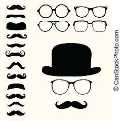 髭, 帽子, retro, 眼鏡